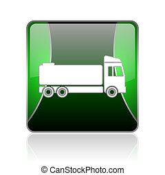 truck black and green square web glossy icon