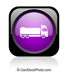 truck black and violet square web glossy icon