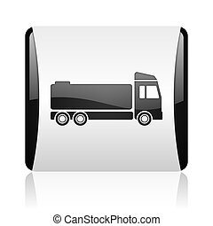 truck black and white square web glossy icon
