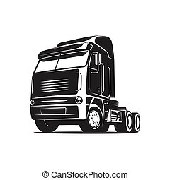 Truck black and white vector illustration