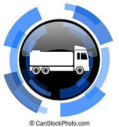 truck black blue glossy web icon