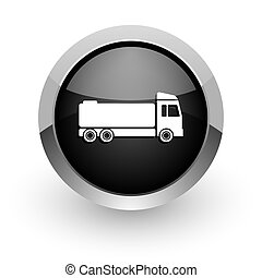 truck black chrome glossy web icon