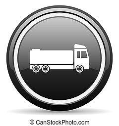 truck black circle glossy web icon
