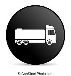 truck black circle web glossy icon