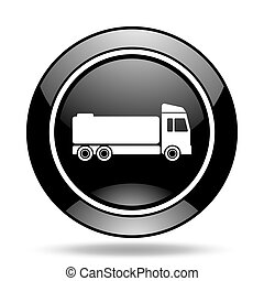 truck black glossy icon