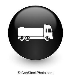 truck black glossy internet icon