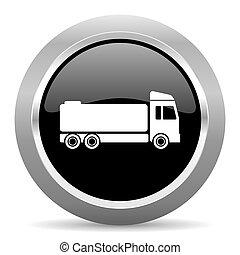 truck black metallic chrome web circle glossy icon