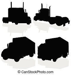truck black silhouette art of vector illustration on white