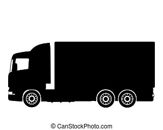 truck  - Black silhouette on a truck. Vector illustration.