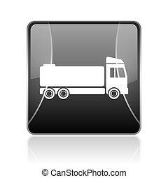 truck black square web glossy icon