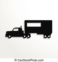 Truck. Black vector icon