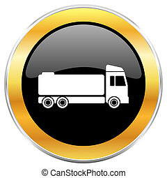 Truck black web icon with golden border isolated on white background. Round glossy button.