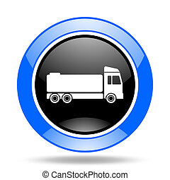 truck blue and black web glossy round icon