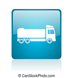 truck blue square web glossy icon