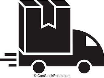 Truck box delivery icon, simple style