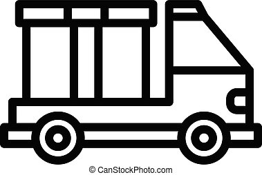 Truck box relocation icon, outline style - Truck box ...