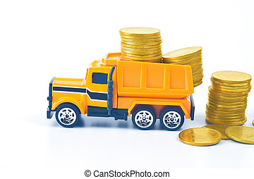 Truck car carry a golden coin stack on white background.