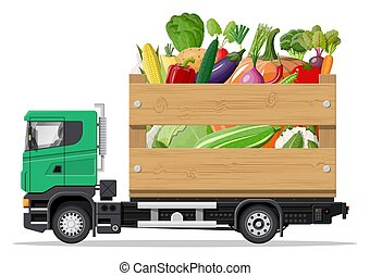 Truck car full of vegetables products