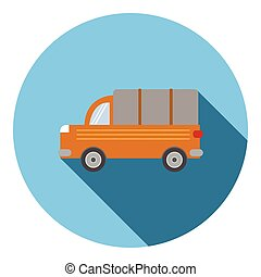 Truck car icon, flat style