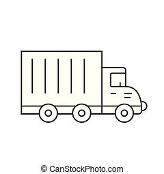 Truck car thin line icon concept. Truck car linear vector sign, symbol, illustration.
