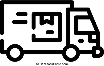 truck cargo delivering line icon vector illustration