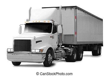 Truck. - Cargo truck over white.