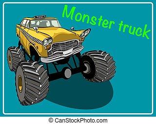 truck., caricatura, monstro