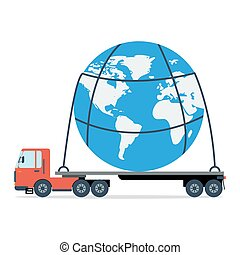Truck carries the entire planet - Vector concept of freight...