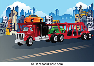 Truck carrying new cars - A vector illustration of truck...