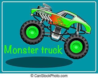 truck., cartone animato, mostro