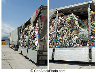 Truck charged with Recycling waste. Two images