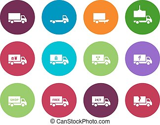 Truck circle icons on white background.