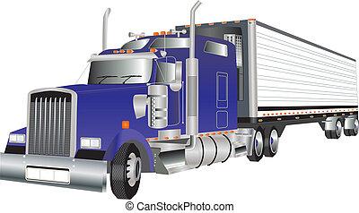 Truck - A Blue American Truck hauling a Refrigerated Trailer