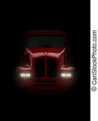 Eighteen wheeler coming head-on out of darkness