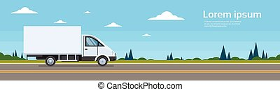 Truck Commercial Lorry Car On Road Cargo Shipping Delivery...