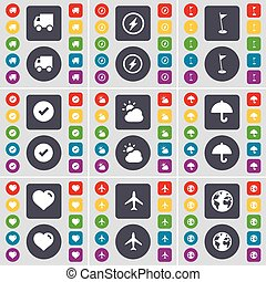 Truck, Compass, Golf hole, Tick, Cloud, Umbrella, Heart, Airplane, Earth icon symbol. A large set of flat, colored buttons for your design. Vector