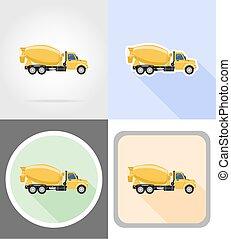 truck concrete mixer flat icons vector illustration