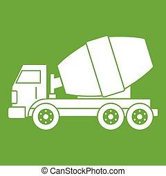 Truck concrete mixer icon green