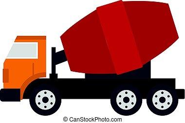 Truck concrete mixer icon isolated