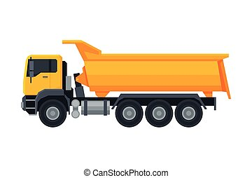 Truck Construction Machinery, Heavy Special Transport, Side View Flat Vector Illustration