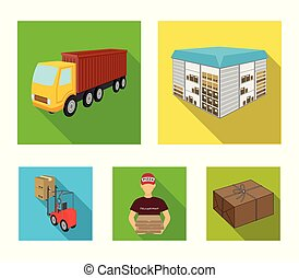 Truck, courier for delivery of pizza, forklift, storage room. Logistics and delivery set collection icons in flat style isometric vector symbol stock illustration web.
