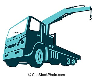 vector illustration of a truck mounted hydraulic crane cartage hoist done in retro style viewed from a low angle.