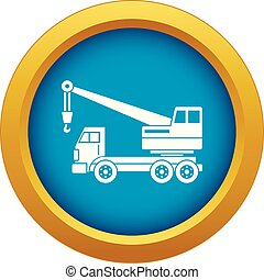 Truck crane icon blue vector isolated