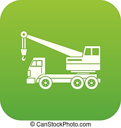 Truck crane icon digital green