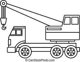 Truck crane icon outline