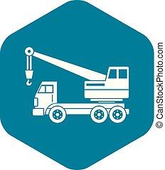 Truck crane icon simple