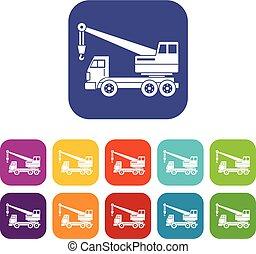 Truck crane icons set flat