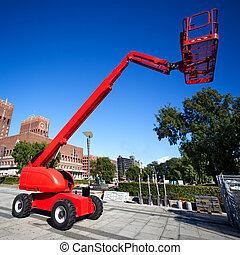 Truck crane in a city.