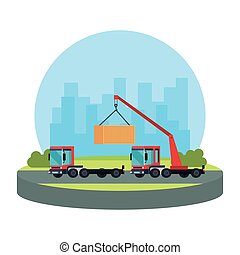 truck crane lifting container logistic service