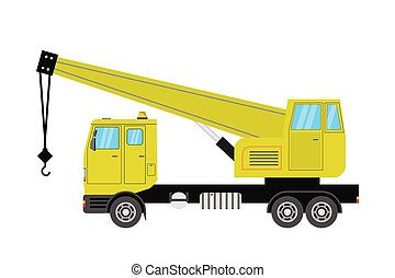 Truck crane. Yellow, isolated on white background.